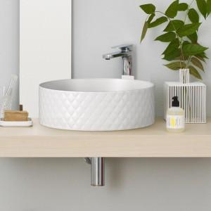 Umywalka z serii Rombo dzięki oryginalnej fakturze staje się ciekawą dekoracją łazienki. Fot. The Artceram.