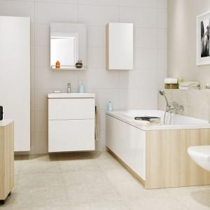 Ceramika z kolekcji Smart doskonale sprawdzi się w łazience o każdym metrażu. Znajdziemy w niej ceramikę i meble o prostych, ponadczasowych kształtach. Fot. Cersanit.