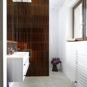 Mozaika nad umywalką oraz płytki na ścianie obok pochodzą z tej samej kolekcji Dunin 3D Mazu Dark Resin. Projekt: Piotr Stanisz. Fot. Bartosz Jarosz.