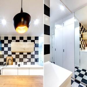Powtarzający się w całym mieszkaniu motyw szachownicy to pomysł właścicielki, która marzyła o podłodze z tym właśnie opartowskim wzorem. Powtarzający się motyw powiększa optykę mieszkania, wtóruje mu duże lustro na froncie szafy w przedpokoju, sąsiadujące z kuchnią i odbijające jej przestrzeń. Projekt: COCO Pracownia projektowania wnętrz. Fot. Łukasz Markowicz.