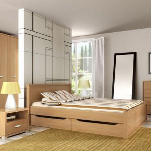 Sypialnię Claro marki Meble Wójcik cechuje minimalizm i funkcjonalność. Nowoczesny styl zestawu podkreśla jasny, dębowy fornir wprowadzający do wnętrza spokojną, przyjazną aurę. Fot. Meble Wójcik.