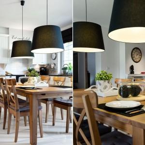 Oprócz elementów drewnianych, wnętrze ocieplają wizualnie także lampy w tekstylnych abażurach. Choć w kolorze czarnym, ich satynowa powierzchnia wprowadza miękkość do pomieszczenia i koresponduje z sofą w salonie. Projekt: Małgorzata Błaszczak, Pracownia Mebli Vigo. Fot. Artur Krupa.