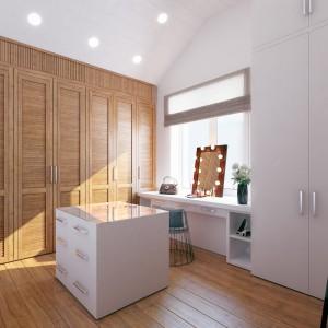 Sypialnię małżeńską połączono z przestronną, jasną garderobą. Ściany pomieszczenia pokrywają drewniana i biała zabudowa. Projekt i wizualizacje: Studio projektowe Geometrium.