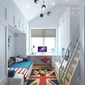 W pokoju chłopca panuje delikatnie industrialny, surowszy klimat. Projekt i wizualizacje: Studio projektowe Geometrium.