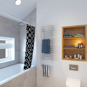 Wannę wpasowano w przestrzeń pod oknem. Tutaj można wypocząć, zażywając kąpieli wodnej i słonecznej. W ścianę nad sanitariatem wpasowano drewnianą szafkę z odsłoniętymi półkami. Projekt i wizualizacje: Studio projektowe Geometrium.