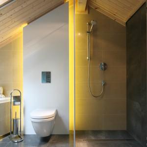 Stefa kąpielowa w łazience przy sypiali ma charakter otwarty, można tutaj wziąć szybki niczym nie skrępowany prysznic. Projekt: Tomasz Motylewski,  Marek Bernatowicz. Fot. Bartosz Jarosz.