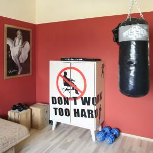 Worek treningowy zawieszony na środku pokoju zdradza sportowe pasje nastolatka. Nadaje też wnętrzu męski charakter. Fot. Bartosz Jarosz.