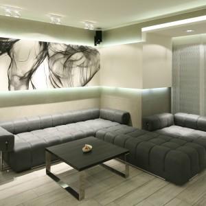 Eleganckie wnętrze urządzono w jasnej, stonowanej palecie barw.  Jego charakter podkreślają oryginalne grafiki zdobiące ścianę za kanapą. Projekt: Dominik Respondek. Fot. Bartosz Jarosz.