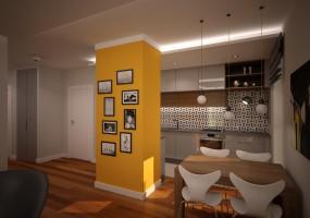Salon z kuchnią i akcentem