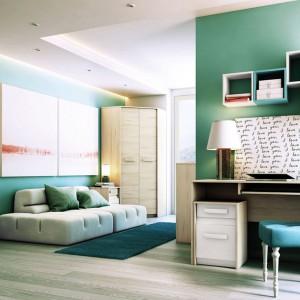 Praktyczna meblościanka Albena firmy Dig-Net Meble to rozwiązanie do niewielkiego pokoju, łączące funkcje półek, szafy i łóżka. Modne połączenie bieli z drewnem daje duże możliwości komponowania dodatków. Fot. Dig-Net Meble.