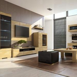 Kolekcja Rossano zapewnia różnorodność brył z frontami z litego drewna dębowego w dwóch kolorach: bianco i notte. Fot. Mebin