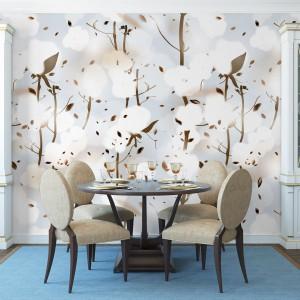 Jadalni, w której kolorem przewodnim jest błękit, przywodząca na myśl bezchmurne niebo barwa odpręża i uspokaja, a kwitnące kwiaty wiśni na fototapecie na ścianie są piękną kropką nad i tej relaksującej aranżacji. Fot. Minka.