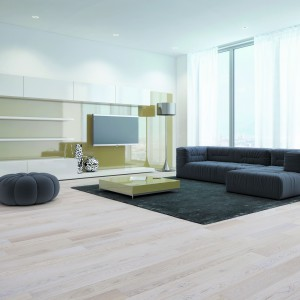 Lita podłoga drewniana z oferty marki  Baltic Wood w wybarwieniu sauvignon blanc. Fot. Baltic Wood.
