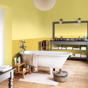 Dwa kolory żółtego doskonale prezentują się w łazience urządzonej w stylu retro. Na zdjęciu: ściany pomalowane farbą marki Dulux. Fot. Dulux.