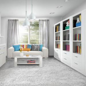 Regał z kolekcji Snow to propozycja sklepu Forte. W całości wykonany w odcieniu matowej bieli. Trzy obszerne półki i dwie szuflady zapewnią dużo miejsca na książki, zeszyty, dekoracje oraz rzeczy osobiste. Pogrubiona rama oraz zaokrąglenia krawędzi sprawiają, że mebel doskonale pasuje do nowoczesnego stylu wnętrza. Wymiary: szer. 61 cm, wys. 199 cm, gł. 41 cm. Cena: 699 zł. Fot. Forte.