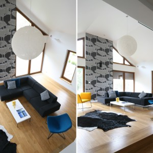 Nowoczesny salon, będący częścią otwartej strefy dziennej, ciągnie się aż na dwie kondygnacje. Urządzony w minimalistycznym stylu zachwyca starannym doborem mebli i dodatków. Projekt: Małgorzata Galewska. Fot. Bartosz Jarosz.