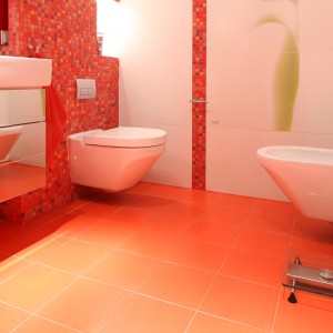 W tej łazience bidet umieszczono na przeciwko miski ustępowej.  Takie rozwiązanie pozwala na umieszczenie wc i bidetu nawet na niewielkiej przestrzeni. Projekt: Małgorzata Szajbel-Żukowska, Maria Żychniewicz. Fot. Bartosz Jarosz.