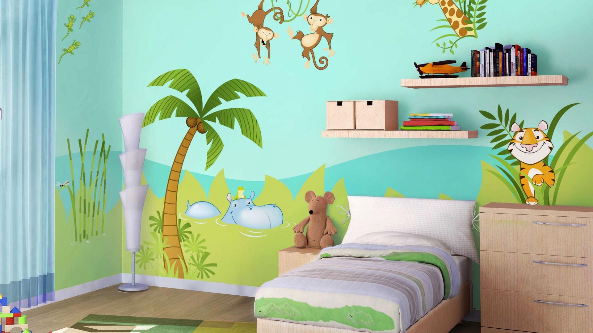 Wykorzystując naklejki z serii Jungle marki Leo Stickers można zamieć pokój dziecka w afrykański las pełen egzotycznych zwierząt. W ten sposób niewielkim kosztem sprawimy, że wnętrze zyska weselszy wygląd. Fot. Leo Stickers.