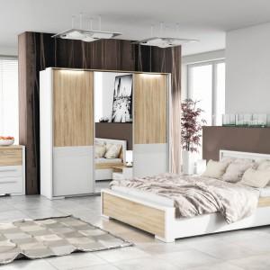 Doskonała kolekcja mebli do sypialni w nowoczesnym stylu. Na pewno spodoba się pani i panu domu. Tym bardziej, że drewno i biel to kolory stonowane i bezpieczne. FM Bravo.