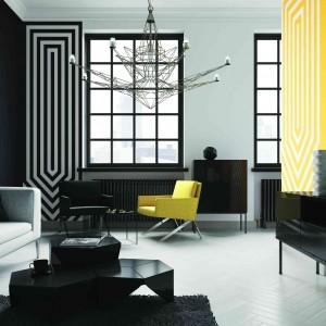 Duet bieli i czerni w zestawieniu z intensywna żółcią to propozycja łączenia kolorów do śnieżki. Fot. Śnieżka.