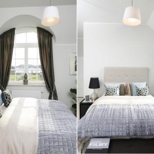 Łóżko ma tekstylny, tapicerowany zagłówek, który buduje w sypialni przytulny klimat oraz stanowi elegancki element dekoracyjny. Projekt: Tomasz Żemojcin, Ventis, Ventana. Fot. Bartosz Jarosz.