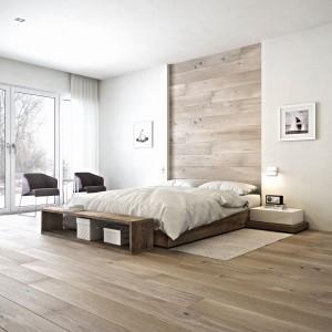 Dzięki specjalnym klipsom montażowym deska barlinecka może być montowana również na ścianie. To doskonały sposób na nietuzinkowe wyeksponowania naturalnego piękna drewna. Na zdjęciu: deska Dab Gentle z kolekcji Senses - dąb jednopasmowy, lakier matowy, faza dwustronna. Fot. Barlinek.
