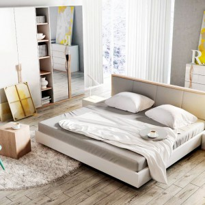Komplet do sypialni Snow firmy Dig-Net w kolorze, jak wskazuje nazwa, śniegu. Wygodne łóżko, praktyczna szafa, komoda i stoliki nocne sprawia, ze sypialnia będzie funkcjonalna i bardzo nowoczesna. Fot. Dig-Net.