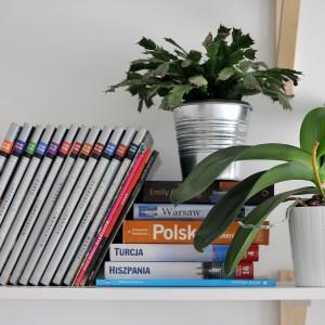 Białe półki z drewnianymi wspornikami to funkcjonalne miejsce na podręczne rzeczy - książki czy kwiaty. Projekt: TK Architekci. Fot. Wojciech Szwej, Jose Teixeira.