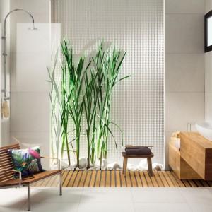 Drewno w łazience ociepla aranżacje w chłodnej kolorystyce i dobrze komponuje się z płytkami imitującymi kamień. Wystarczy kilka detali, np. lustro w drewnianej ramie czy fragment podłogi w odcieniach drewna, by uzyskać piękne, inspirowane naturą wnętrze. Fot. Tubądzin.