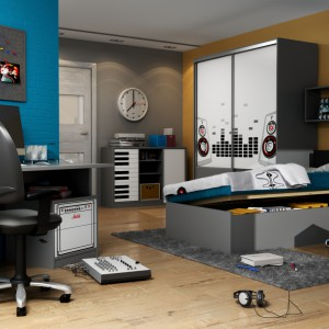 Pomysł na pokmój muzykalnego nastolatka. Meble z serii Red Music marki Meblik zdobią grawerowane 3D wzory gitar, klawiszy, płyt i słuchawek – atrybuty osób, dla których muzyka jest ważnym elementem życia. Fot. Meblik.