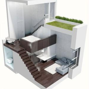 Loft ma w sumie cztery kondygnacje - każdą pełniącą inną funkcję użytkową. Poszczególne pomieszczenia nie mają drzwi ani tradycyjnych ścian, a usytuowane są jedno nad drugim, stwarzając wrażenie pięcia się do góry. Projekt: Specht Harpman.