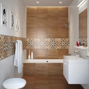 Kolekcja gresowych płytek Gusto firmy Cersanit, które przypominają drewno i kamień. Drewniany dekor uzupełniają efektowne płytki z dekoracyjną rozetą. Format ozdobnych płytek: 45x45 cm, cena: 51 zł/m². Fot. Cersanit.