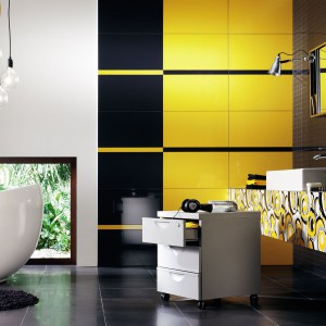 Kolekcja płytek Colour to propozycja od marki Tubądzin. Jej znak rozpoznawczy to miks kolorów, duży format, modułowość, przestrzenność faktur, kombinacje barw i linearne dekoracje. Energetyczne płytki dostępne w wielu kolorach. Fot. Tubądzin.
