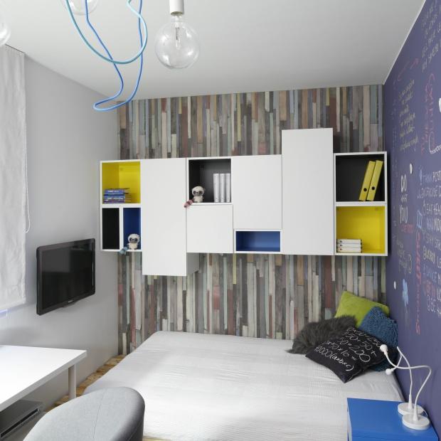 Pokój nastolatka. Kolorowe wnętrze w stylu loft