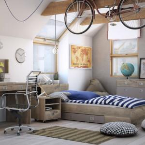 Młodzieżowe łóżko z serii Voyager marki Agata Meble urzeka designem bazującym na postarzanym drewnie. Mebel z praktyczną szufladą na pościel. Cena: 899 zł. Fot. Agata Meble.