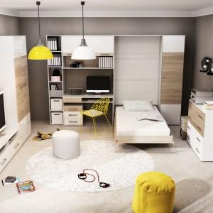 Półkotapczan z serii Albena marki Agata meble to idealne rozwiązanie do małego pokoju. W ciągu nie można go złożyć uzyskując więcej przestrzeni. Cena: 1.659 zł. Fot. Agata Meble.