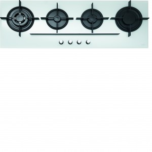 """Płyta gazowa Franke Crystal FHCR 1204 3G TC WH C z białego szkła świetnie się prezentuje, jest bardzo elegancka i ułatwia gotowanie kilku posiłków jednocześnie, dzięki ułożeniu palników-jeden obok drugiego. Płyta wyposażona jest m.in. w 4 wysokowydajne palniki, w tym palnik """"Trzy Korony"""" o mocy 3600 W, gwarantujący doskonały efekt gotowania. Fot. Franke."""