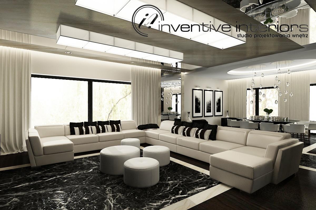 Projekt salonu z jadalnią Inventive Interiors.