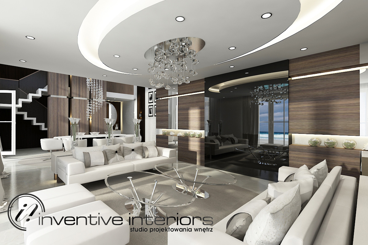 Projekt otwartego salonu Inventive Interiors.