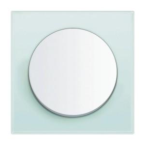 Seria Berker R.1. Ramka z białego szkła. Klawisz z tworzywa w białym połysku. Fot. Hager.
