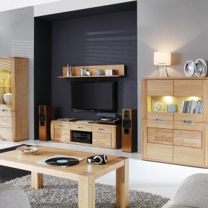 Kolekcja mebli dedykowanych do przestrzeni dziennych Natur. Jasne drewno, oryginalny dekor oraz podświetlane przeszklenia witryn pomogą zbudować przytulną atmosferę we wnętrzu. Fot. Paged.