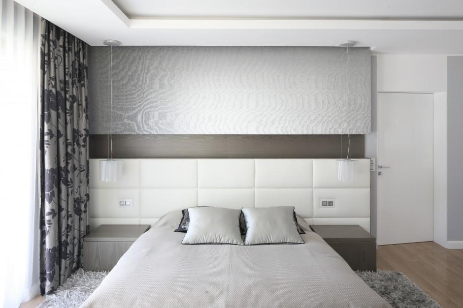 Dekoracyjna ściana za...  Nowoczesna sypialnia. Piękne ...