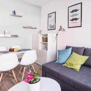 Antracytowa sofa w salonie stanowi mocniejszy akcent na tle jasnych barw, wypełniających wnętrze. Udekorowana kolorowymi poduszkami, prezentuje się niezwykle elegancko. Projekt i zdjęcia: Ewelina Golinowska, EG Projekt.