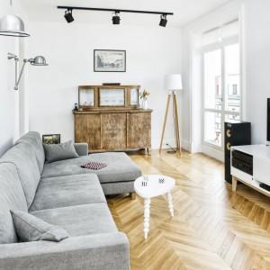 Salon to harmonijne połączenie tradycji, designu i nowoczesności. Zabytkowy kredens kontrastuje z nowoczesną szafką RTV i industrialnym srebrnym oraz czarnym oświetleniem. Projekt i zdjęcia: Ewelina Golinowska, EG Projekt.