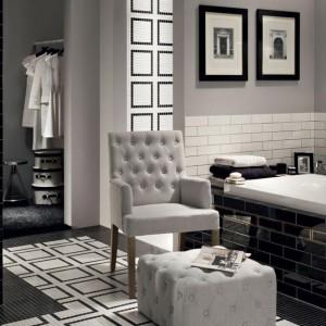 Płytki z kolekcji Monaco Monte Carlo w klasycznej, ponadczasowej kolorystyce nadają przestrzeni łazienki elegancki charakter. Fot. Tubądzin.