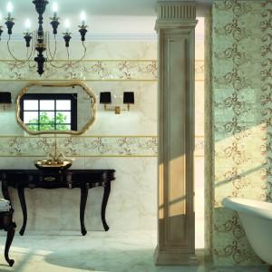 Wnętrze łazienki warto urozmaicić kolorowym dekorem. Na zdjęciu: płytki z kolekcji Quatif z dekoracyjnym motywem. Tak ozdobione ściany idealnie współgrają z czarnymi, stylizowanymi meblami. Fot. Dune.