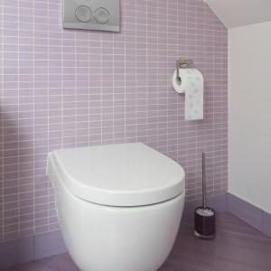 Kolorowe płytki stanowią doskonałe tło dla ciekawej formy ceramiki łazienkowej. Fot. Bartosz Jarosz.