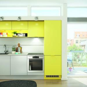 Fronty w żywym kolorze żółtym nadają przestrzeni zdominowanej przez szarość energetyzujący charakter, ożywiając jej aranżację. Fot. HTH, KT12 Mono Color.