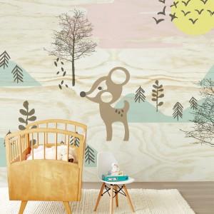 Leśna tapeta marki Eiffinger zmieni pokój dziecka w zaczarowaną polanę, a jej bohater - mały jelonek - szybko stanie się ulubionym zwierzątkiem malucha. Fot. Decodore.