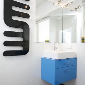 W łazience rolę czarnych akcentów pełni podłoga i efektowny, dekoracyjny grzejnik, który - dzięki swojej formie - pełnić może również funkcję wieszaka na ręczniki. Projekt: Katarzyna Uszok. Fot. Bartosz Jarosz.